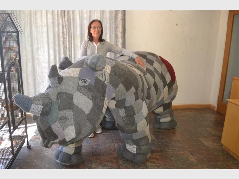 Our rhino mascot made with knitted squares from our worldwide members